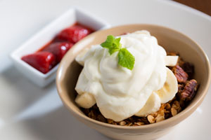 Honey Roasted Granola with Fruit Compote